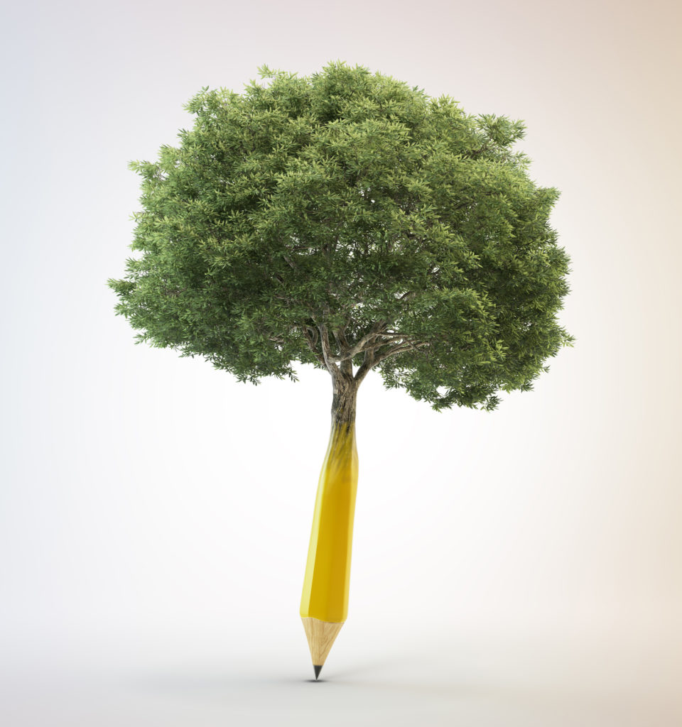 Pencil tree writing organically
