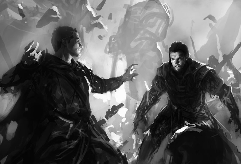"Concept art for an early cover of Cephrael's Hand. Artwork by Mike ""Daarken"" Lim (www.daarken.com)"